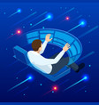 isometric man touching virtual interface creating vector image vector image