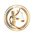 lady justice themis golden emblem vector image vector image