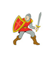 Medieval Knight Shield Sword Standing Cartoon vector image