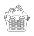 monochrome silhouette of laundry basket with heap vector image vector image