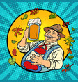 oktoberfest german old man with beer vector image