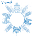 Outline Brussels skyline with blue building vector image vector image