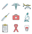 outline colored medical icons set vector image vector image