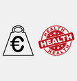 outline euro mass icon and scratched health vector image vector image