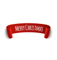 Paper curved label with merry christmas sign vector image vector image
