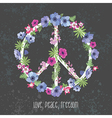 Peace Hippie Symbol with Flower on the white