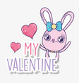 rabbit with heart to happy valentine day vector image