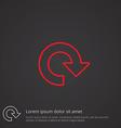 reload outline symbol red on dark background logo vector image vector image