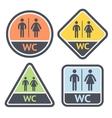 Restroom symbols set flat signs retro color vector image vector image