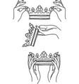 rown in hands line vector image