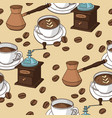 seamless pattern with coffee cups coffee grinder vector image