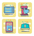 set of cartoon home appliance icon vector image vector image
