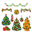 set of cute christmas tree colorful garlands new vector image