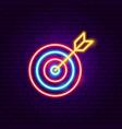 target arrow neon sign vector image