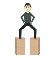 the guy is standing on the boxes vector image vector image