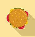 top view cheeseburger icon flat style vector image