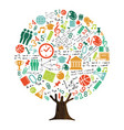 tree of school subject icons for education concept vector image vector image