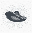 vintage label hand drawn sombrero mexican vector image vector image