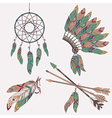colorful ethnic set with dream catcher feathers vector image