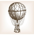Vintage air balloon wheel hand drawn sketch vector image