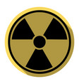 radiation round sign flat black icon with vector image