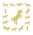 set gold unicorn silhouette vector image