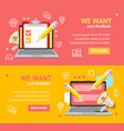 we want feedback banner card poster set vector image