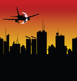 city silhouette with airplane vector image