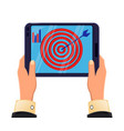 tablet in mans hands objective reached icon vector image
