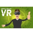 A man with virtual reality headset vector image vector image