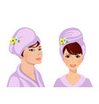 adorable woman in turban and in bath robe vector image