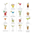 Alcohol Cocktails Icons Flat Line vector image vector image