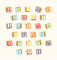alphabet colorful toy blocks font for children vector image vector image