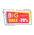 big sale promo label rectangle decorated star vector image vector image