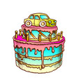 birthday cake decorated with car retro vector image