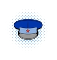 Blue military hat with star comics icon vector image vector image