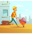 Builder And Building Cartoon vector image