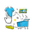 cart shopping on line pop art vector image