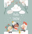 cartoon happy children enjoying snow hello vector image vector image