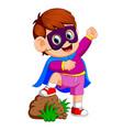 cartoon kid playing a superhero vector image