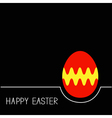 Colored Happy Easter egg White line Red yellow on vector image vector image