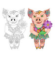 contour drawing pig with flower for decoration vector image