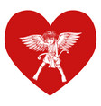cupid on heart symbol vector image