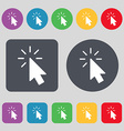 Cursor icon sign A set of 12 colored buttons Flat vector image