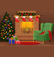 decorated christmas room with xmas tree gifts vector image