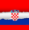 Design flag CROATIA from torn papers with shadows