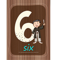 Flashcard number 6 with number and word vector image vector image