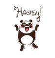 funny panda yells hooray in vector image
