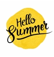 Hello summer lettering on watercolor blot