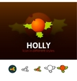 Holly icon in different style vector image vector image